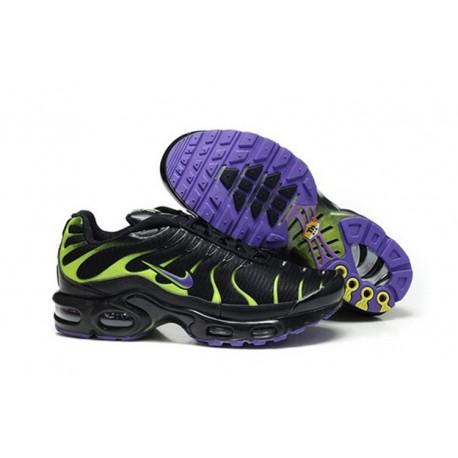 En ligne Nike Air Max TN 2017 Homme Chaussures Noir/Violet/Fluorescent Verte Soldes Pas Cher