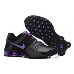 Chaussures en cuir actuelles Nike Shox Noir/Gris/Violet Homme