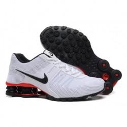 Hommes Blanc/Noir/Rouge Nike Shox Chaussures à chaîne respirante à l'air actuel