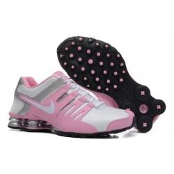 Chaussures en cuir rose/argent/rose pour hommes Nike Shox