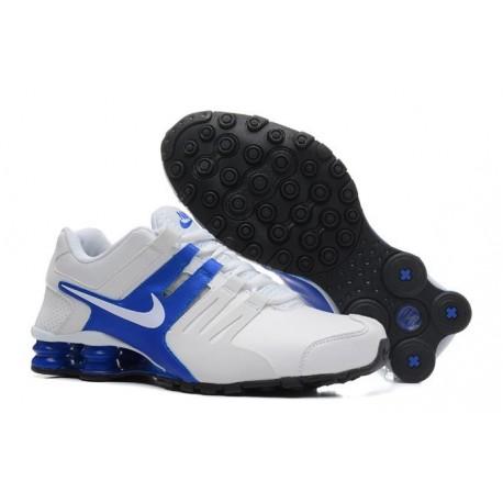 Hommes Nike Shox Chaussures en cuir blanc/bleu actuelles