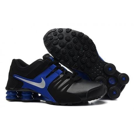Hommes Nike Shox Chaussures en cuir noir/bleu royal/argent noir