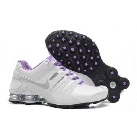 Blanc/Argent/Violet Nike Shox Chaussures en cuir actuelles