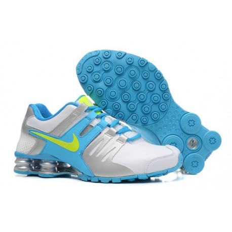 Nike Shox Chaussures en cuir actuelles Hommes Blanc/Argent/Bleu