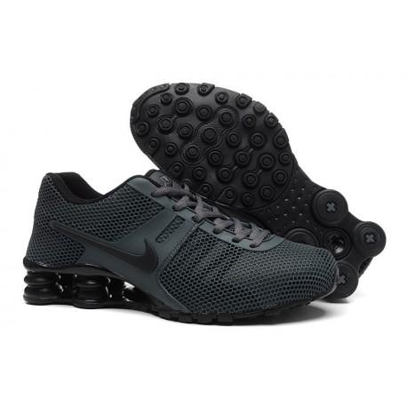 Gris carbone/Noir Hommes Nike Shox Chaussures respirantes à gorge respirante actuelle