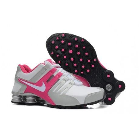 Homme Blanc/argent/Rose Nike Shox Chaussures en cuir actuelles