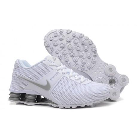 Homme Nike Shox Chaussures respirantes courantes en acier blanc/gris Supérieur