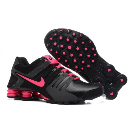 Homme Nike Shox Chaussures en cuir noir/gris/rose