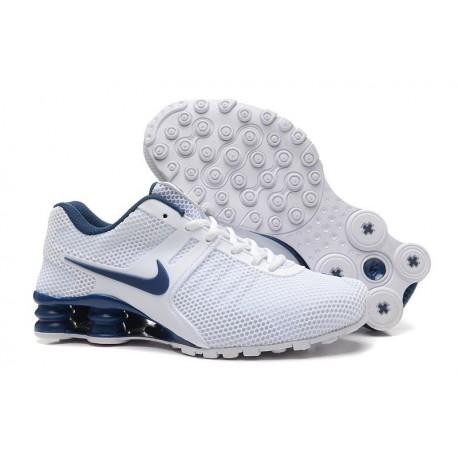 Hommes Blanc/Bleu Chaussures Supérieures Nike Shox