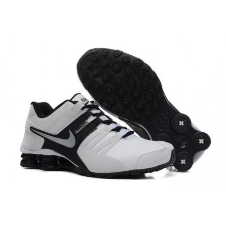 Homme Blanc/Noir/argent Nike Shox Chaussures en cuir actuelles