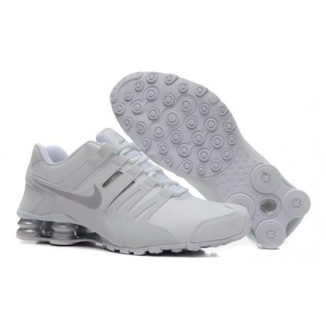 Homme Blanc/argent Nike Shox Chaussures en cuir actuelles