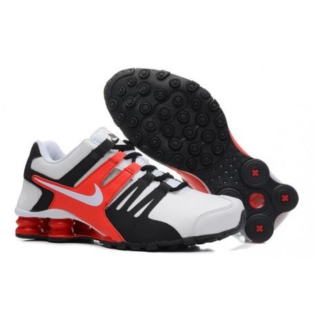 Blanc/Noir/Rouge Chaussures en cuir Nike Shox Current Homme