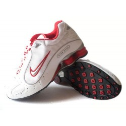 Hommes Nike Shox Monster Blanc/Rouge/Chaussures Grises