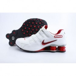 Homme Blanc/Bright Rouge Nike Shox NZ Chaussures de course