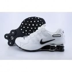 Homme Nike Shox NZ Blanc/Noir Logo Electroplate Button Running Chaussures