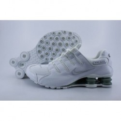 Homme Nike Shox NZ Blanc/Argent Electroplate Button Running Chaussures