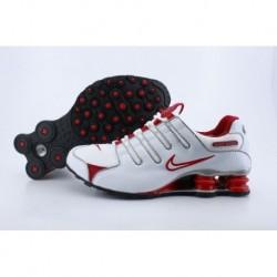 Chaussures de course Nike Shox NZ Hommes/Femmes Blanc/Rouge vif