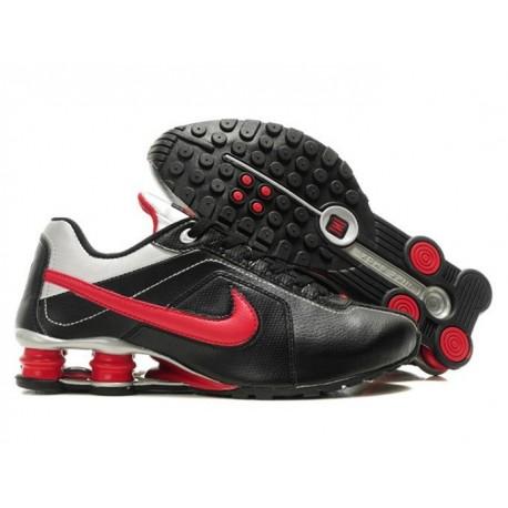 Homme Noir/argent/Crimson Nike Shox R4 Chaussures de course