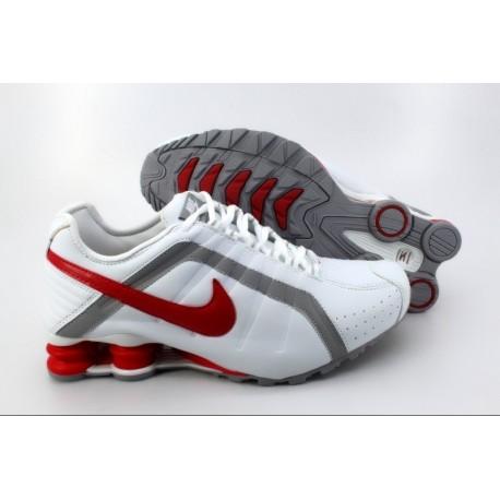 Chaussures de course Nike Shox R4 Homme Blanc/Argent/Rouge