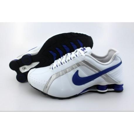 Homme Nike Shox R4 Blanc/Argent/Royal Bleu Chaussures de course