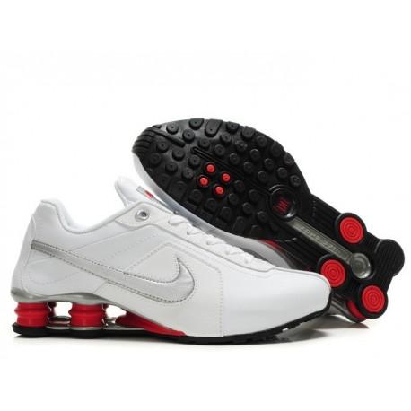 Homme Nike Shox R4 Blanc/Rouge/Argent Chaussures de course