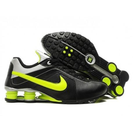 Chaussures de course Nike Shox R4 pour homme Noir/Argent/Lime Green