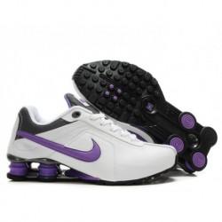 Femme Nike Shox R4 Blanc/Purple Running Chaussures